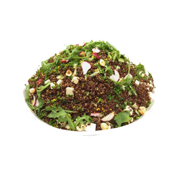 Salada de Quinoa Vermelha c/ Molho de Citrinos, Rabanetes e Tofu