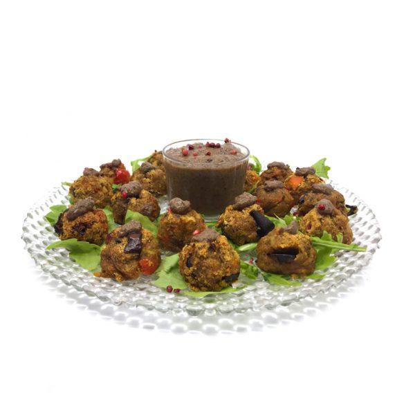Bolinhas de Vegetais c/ Molho de Cogumelos